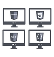 set with shield html five tag and vector image vector image