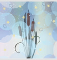 silhouettes swamp reed on sunset vector image vector image