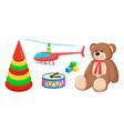 teddy bear and copter toys vector image vector image