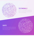 testimonials and quote concept in circle vector image vector image