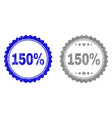 textured 150 percents scratched stamp seals vector image vector image