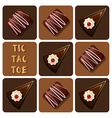 Tic-Tac-Toe of chocolate and cake vector image vector image