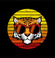 tiger retro sunset vector image vector image