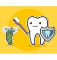 Tooth with toothbrush and bacterium vector image vector image