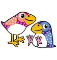 two childish birds vector image vector image