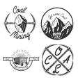 Vintage coal mining emblems vector image