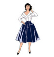 vintage fashion dressed woman vector image vector image