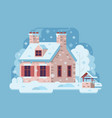 winter rural house with chimney vector image