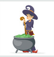 witch girl with cauldron cartoon young character vector image
