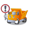 with sign cartoon truck on the table learn vector image
