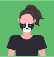 woman wearing protective mask with dog face smog vector image