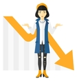 Woman with declining chart vector image vector image