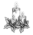 candles and holly berries and leaves sketch vector image