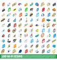 100 hi-fi icons set isometric 3d style vector image