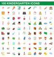 100 kindergarten icons set cartoon style vector image