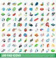 100 faq icons set isometric 3d style vector image vector image