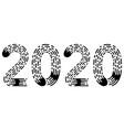 2020 lettering figure year fingerprint style font vector image