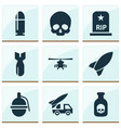 army icons set with artillery skull helicopter vector image vector image