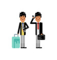 asian man with travel bag and ticket in hands vector image