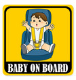 baby on board sign baby boy sitting on car seat vector image