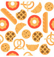 bakery seamless pattern bakery product flat design vector image