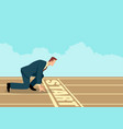 businessman ready to sprint on starting line vector image vector image