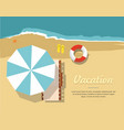 chaise lounge and umbrella on the beach vector image