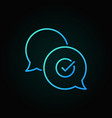 check mark in speech-bubble blue line icon vector image