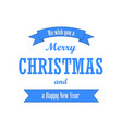 christmas text blue ribbon merry vector image vector image