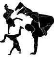 collection silhouettes breakdancer on a white back vector image vector image