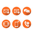 contact buttons set icons email envelope phone vector image vector image