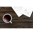 cup coffee on a wooden table vector image vector image