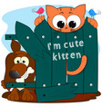 cute kitten and dog cartoon comic vector image vector image