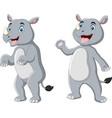 cute rhino cartoon waving hand vector image vector image