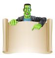 frankenstein halloween sign scroll vector image vector image
