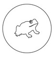 frog black icon in circle outline vector image vector image