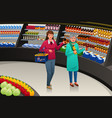 girl and grandmother going grocery shopping vector image vector image