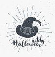 Halloween greeting card vintage label hand drawn