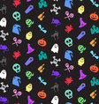 Halloween icons seamless pattern vector image vector image
