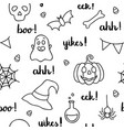 halloween words lettering and items black outline vector image