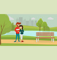 happy man and woman in the park vector image vector image