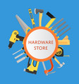 hardware store banner with building tools vector image vector image