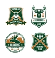 Hunting club shields set Hunt sports emblems vector image