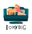 love my dog card vector image vector image