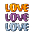 Love set Logo for Valentines day in warm colors vector image vector image