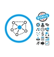 Molecule Links Flat Icon with Bonus vector image