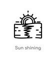 outline sun shining icon isolated black simple vector image vector image