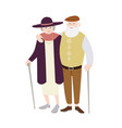 pair of old man and woman dressed in stylish vector image vector image