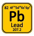Periodic table element lead icon vector image vector image
