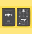 pizza restaurant menu layout design brochure vector image
